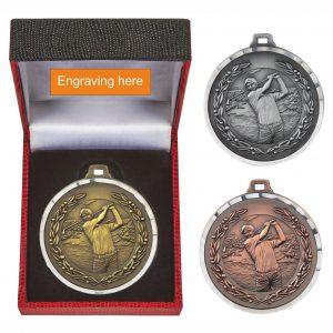 Male Golfer Medal in Presentation Box
