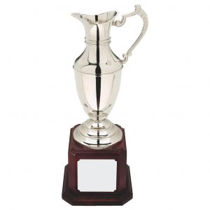 Replica Open Jug 41cms. Constructed from metal alloy body and stem with decorative handles. Nickel plated to leave a bright shiny finish