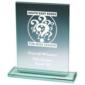 Attainment Glass Trophy 21cms. 10mm thick rectangular shaped jade glass