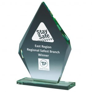 recognition Glass Trophy 22.5cms. Angled shape jade glass 10mm thick supplied with a white packing box.