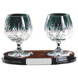Two Lead Crystal Glasses on Wood Base
