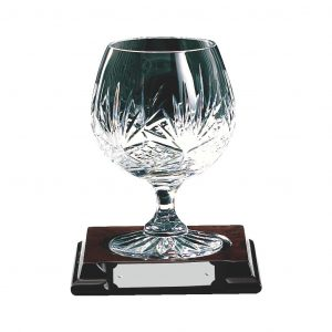 Lead Crystal Glass on Wood Base