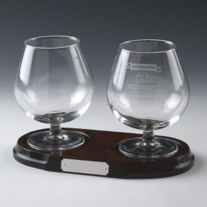 Matching Pair Glass Brandy Balloons on Wood Base