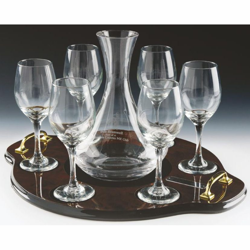 Glass Carafe Decanter and Glasses Set on Tray