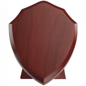 Rosewood Finish Traditional Annual Blank Shield. A quality hard wearing rosewood coloured finished traditional shaped blank shield.