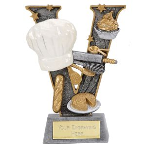 Baking Cooking Trophy. Antique silver coloured resin victory shape with chef hat and cooking implements