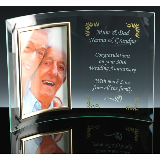 Curved Glass Photo Frame - Curve photo frame which accepts a photograph and area were a personalised message can be etched