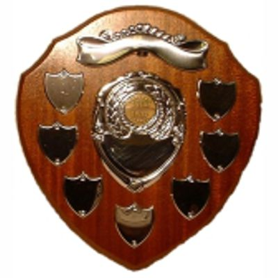"""Annual Presentation Shield 9"""" tall (30cms) Traditional shape oak veneered annual shield with 7 record shields"""