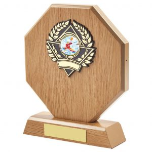 ightwood coloured canoe trophy is hexagon shaped and includes a standard coloured canoe centre