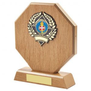 lightwood coloured girls brigade trophy is hexagon shaped and includes a standard coloured girls brigade centre