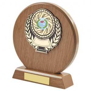 light wood coloured round shaped curling trophy
