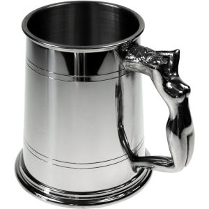 Nymph Handle Tankard. onstructed from English pewter by expert craftsmen. A traditional two lined standard one pint tankard. Presented in a standard packing box. Also incorporating a nymph shaped handle and lots of room for etching.