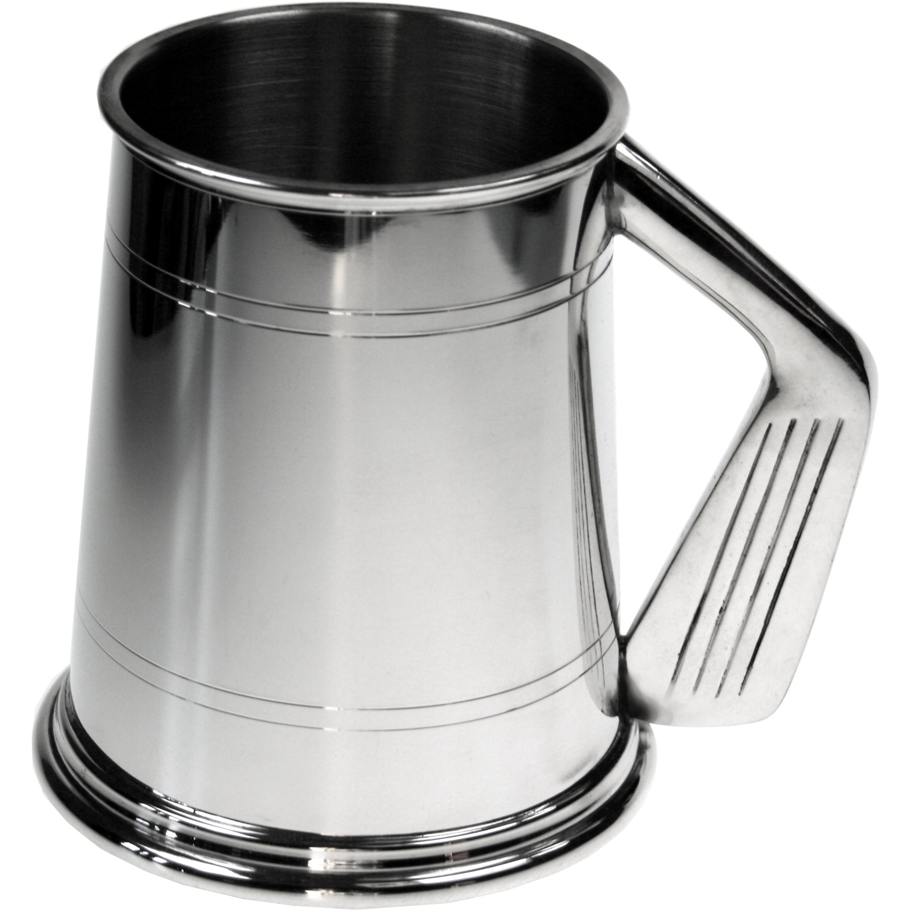 Golf Club Handle Tankard. Constructed from English pewter by expert craftsmen. A traditional one pint sized two lined tankard with the handle in the shape of a golf wedge. Also presented in a standard packing box.