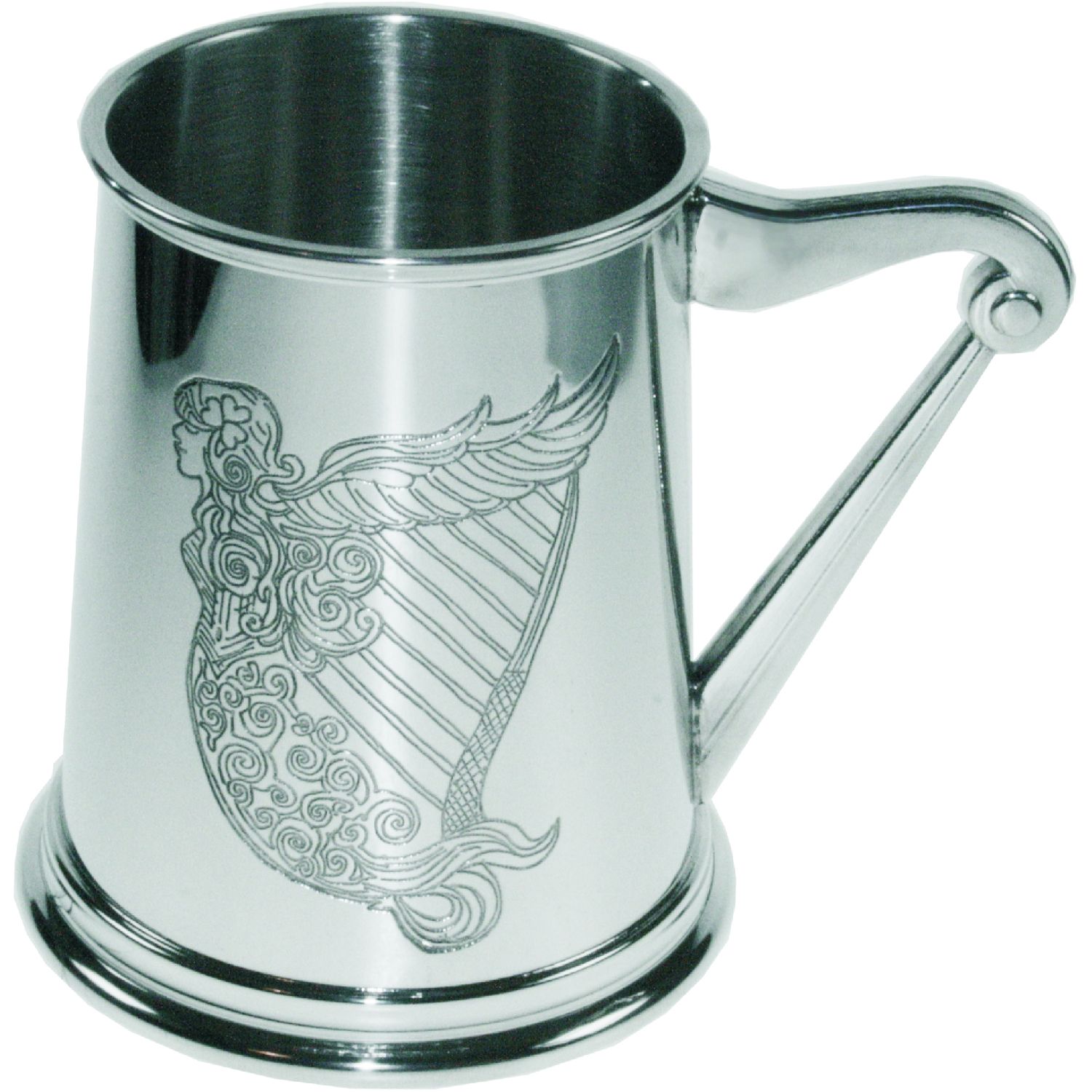 Irish Harp Pewter Tankard. Constructed from English pewter by expert craftsmen. A traditional tankard including the harp embossed logo. Presented in a standard packing box. Also incorporating a harp shaped handle and lots of room for etching