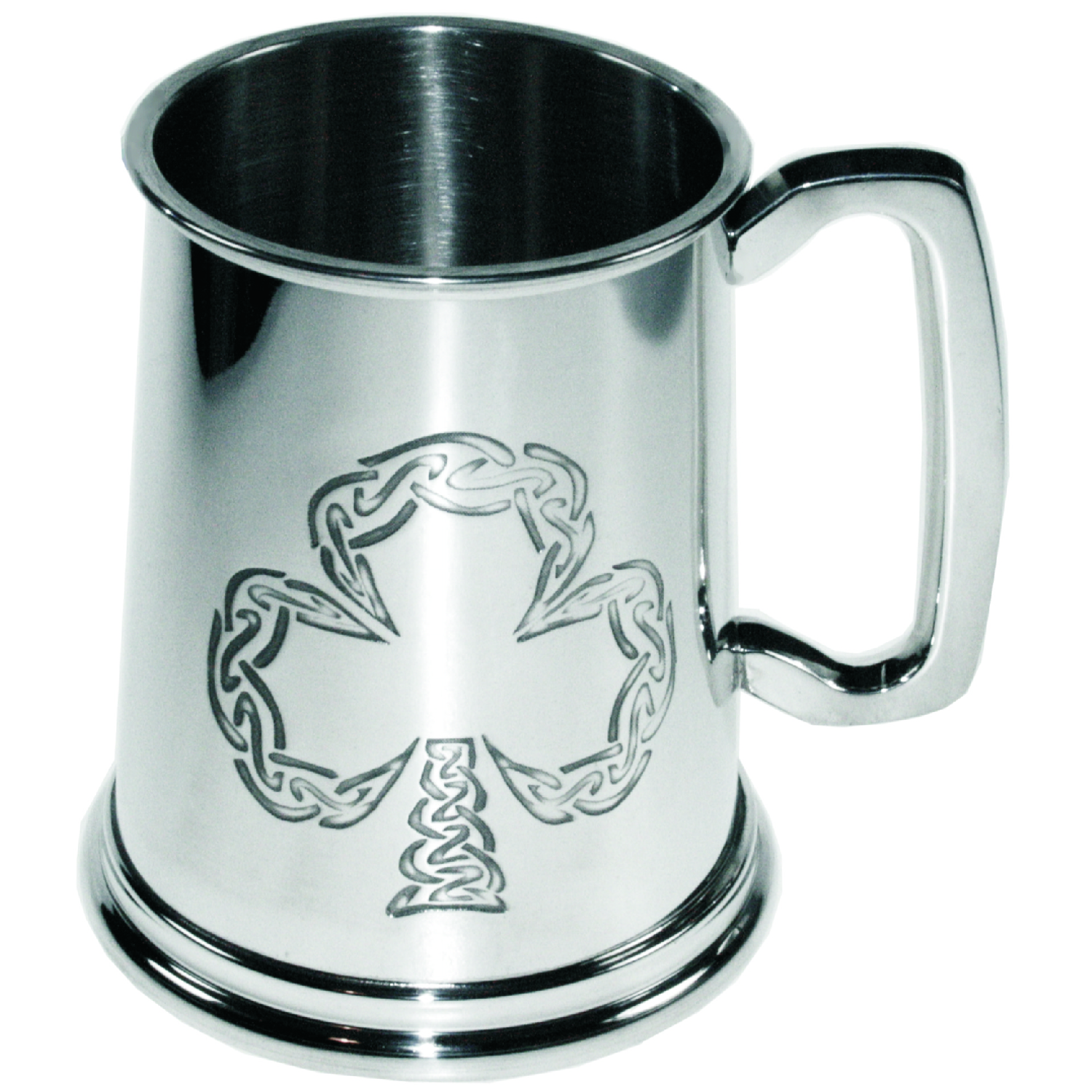 Shamrock Pewter Tankard. Constructed from English pewter by expert craftsmen. A traditional tankard including the Irish Shamrock embossed logo. Presented in a standard packing box. Also incorporating a rounded handle and lots of room for etching.