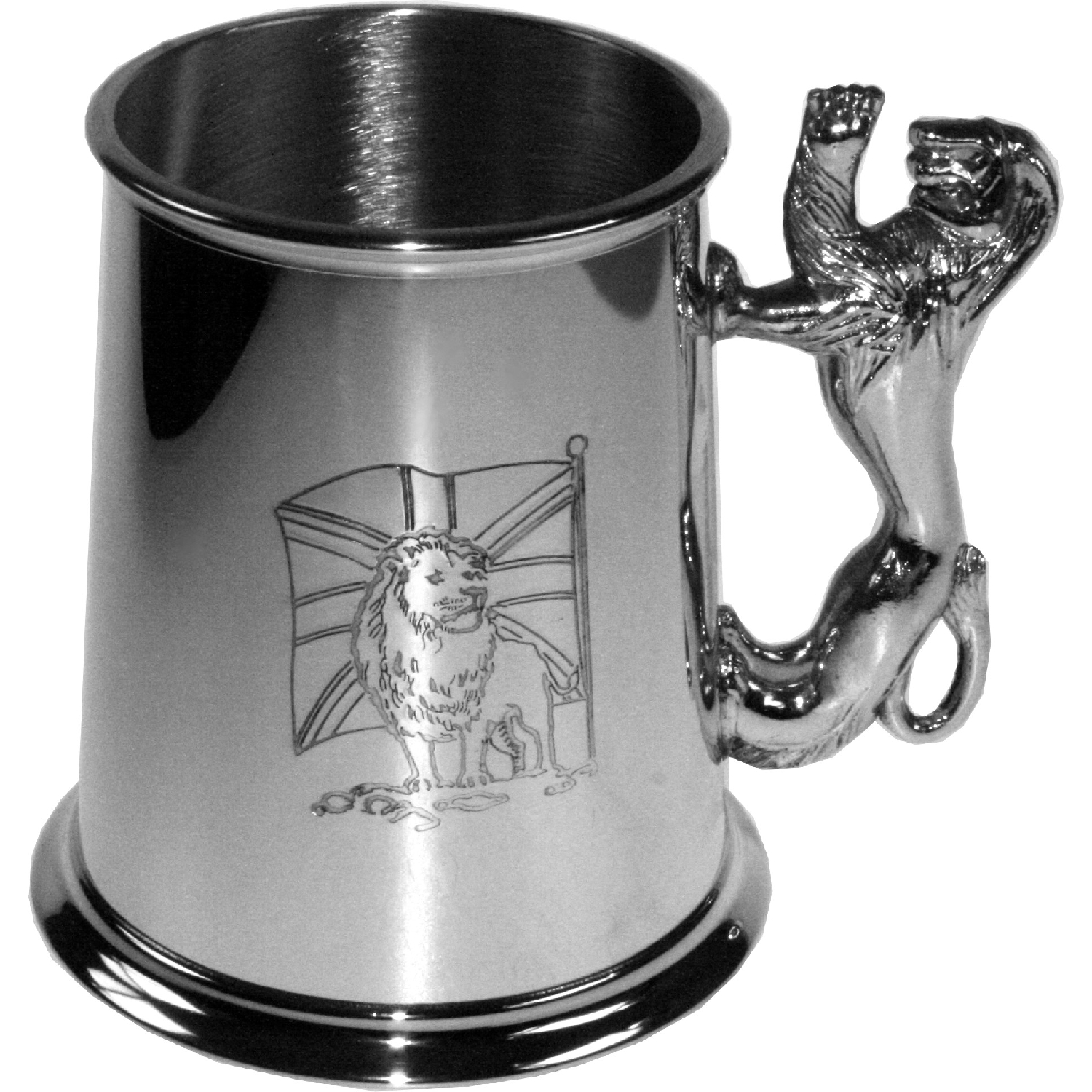 Union Flag Pewter Tankard. onstructed from English pewter by expert craftsmen. A traditional tankard including the Union Flag embossed logo. Presented in a standard packing box. Also incorporating a lions shaped handle and lots of room for etching.