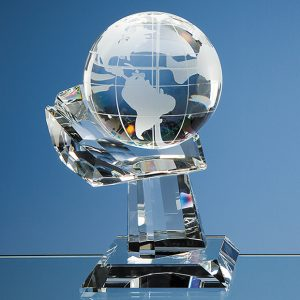Globe on Hand Trophy. Very effective and stylish. Ideal recognition, achievement or incentive gifts for global, travel or transport based companies