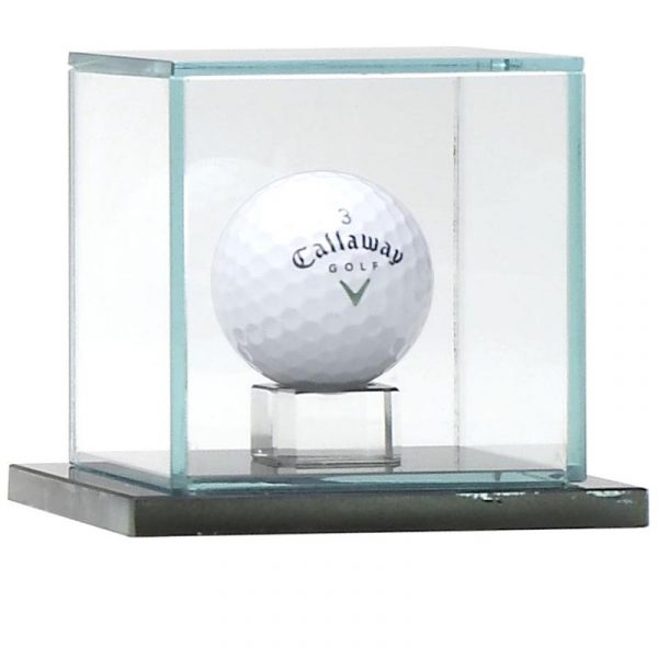 Golf Ball Display Case. quality jade glass cube shaped with area for sitting your golf ball under the glass
