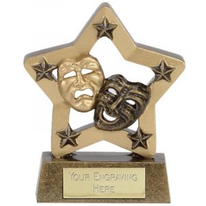 Drama Mask Trophy 8cms. Mini Star two tone antique gold coloured drama mask troph