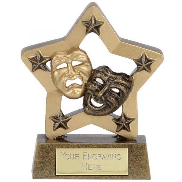 Drama Mask Trophy 8cms.Mini Star two tone antique gold coloured drama mask troph