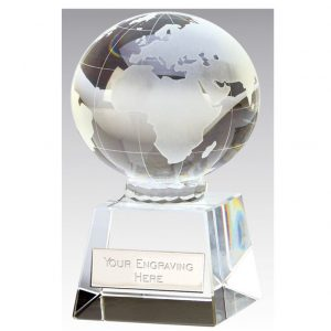 SPECIAL OFFER Globe Trophy A quality globe glass trophy on glass base, supplied with a presentation box