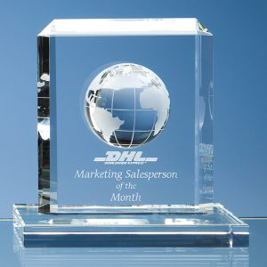 World Globe Glass Trophy. These are very stylish looking awards that are ideal for global, travel or transport based presentations