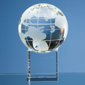 Clear optical crystal world globe and separate base