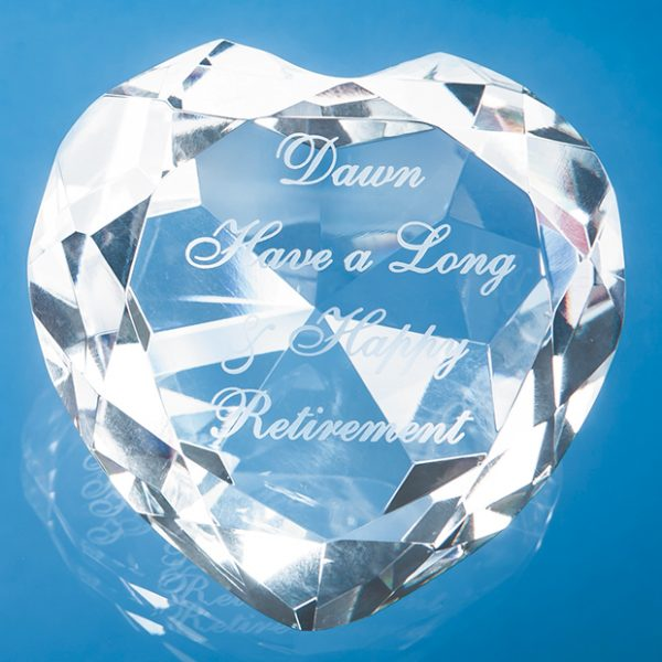 Clear Facet Heart Paperweight