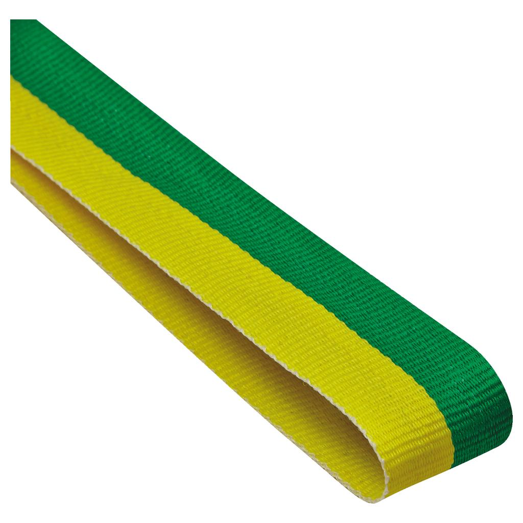 green and yellow medal ribbon