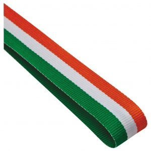 green, white and orange medal ribbon