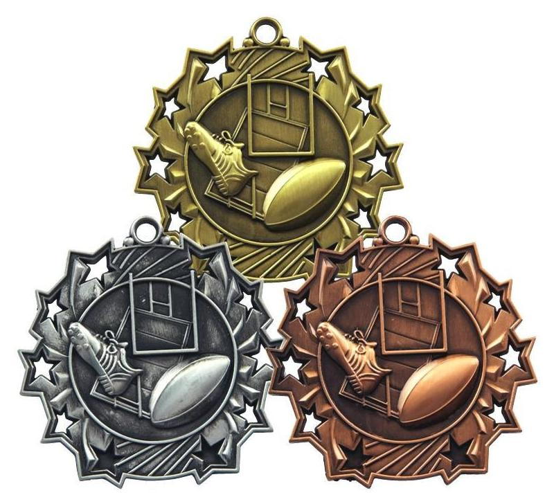 bronze, silver and gold rugby medals