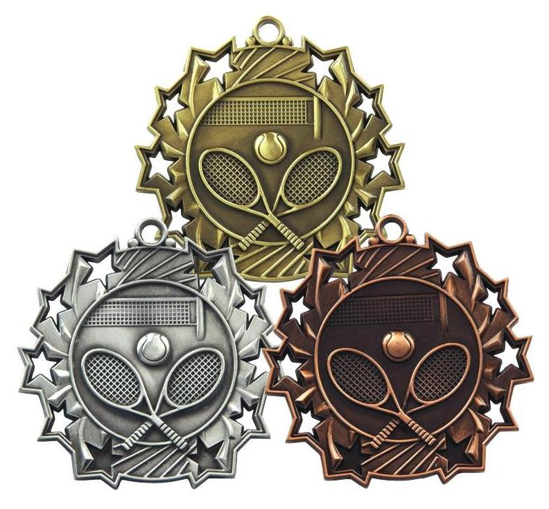 bronze, silver and gold tennis medals