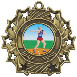 High Embossed Sports Medal. Made from a 60mm dia metal alloy with a antique finish and a high relief image. A clip ring to add an optional ribbon or to use for hanging purposes