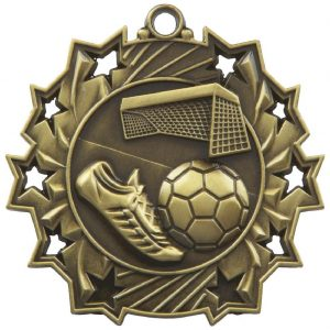 High Embossed Football Medal, Made from a 60mm dia metal alloy with a antique finish and a high relief image. A clip ring to add an optional ribbon or to use for hanging purposes