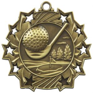 High Embossed Golf Medal. Made from a 60mm dia metal alloy with a antique finish. A clip ring to add an optional ribbon or to use for hanging purposes. Incorporating an area on the back to include any engraving