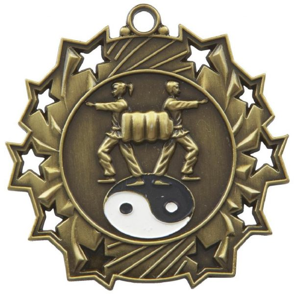High Embossed Martial Arts Medal. Made from a 60mm dia metal alloy with a antique finish and a high relief image. A clip ring to add an optional ribbon or to use for hanging purposes