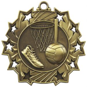 High Embossed Netball Medal. Made from a metal alloy with a antique finish. A clip ring to add an optional ribbon or to use for hanging purposes. Incorporating an area on the back to include any engraving