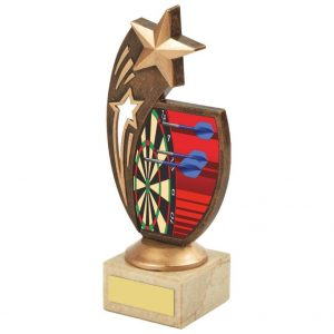 Darts Stars Trophy 18cms. Ideal for any darts player and great for any darts match, individual winners and runners up. Perfect for most wins and end season darts