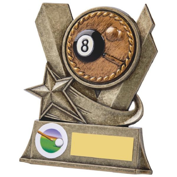 Eight Ball Pool Metal Alloy Trophy 11.5cms