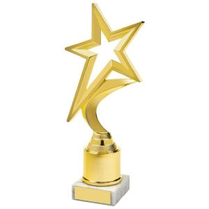 Star Trophy Gilt 22.5cms.  Firstly a great trophy for a shining star or someone who has star quality. A popular choice when you are looking for a quality trophy at an affordable price