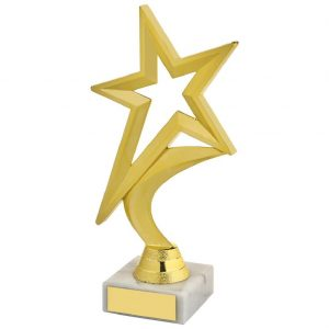 Shining Star Trophy Gilt Coloured 18.5cms