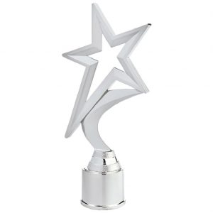 Shining Star Trophy Silver Coloured 22cms