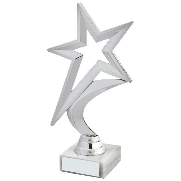 Shining Star Trophy Silver Coloured 18.5cms