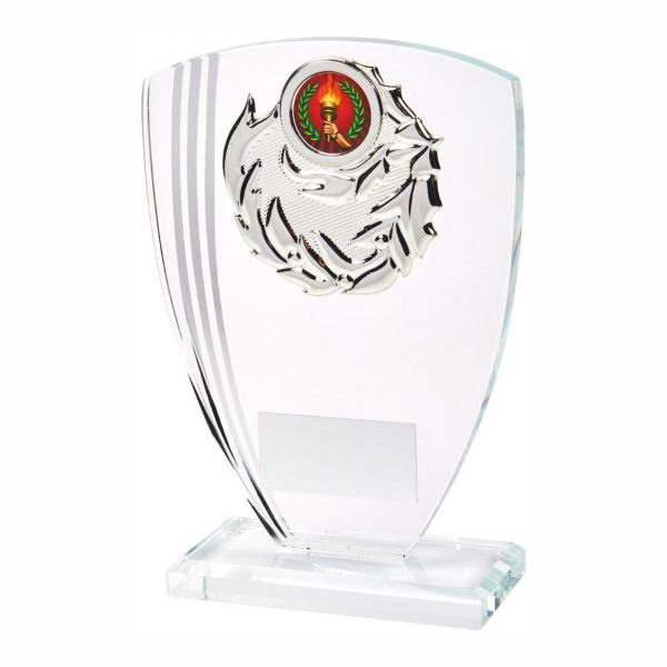 Glass Victory Trophy 17cms