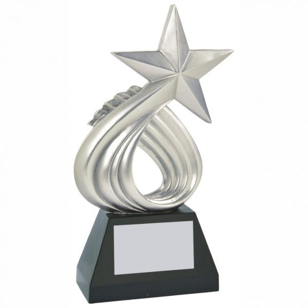 Swirling Silver Coloured Sailing Star Trophy 25cms tall