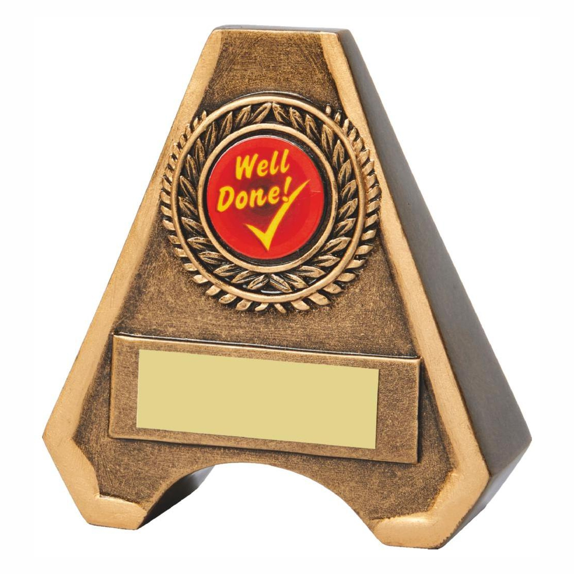 Ideal for school. A triangular style two tone antique gold coloured resin trophy with engraving plate