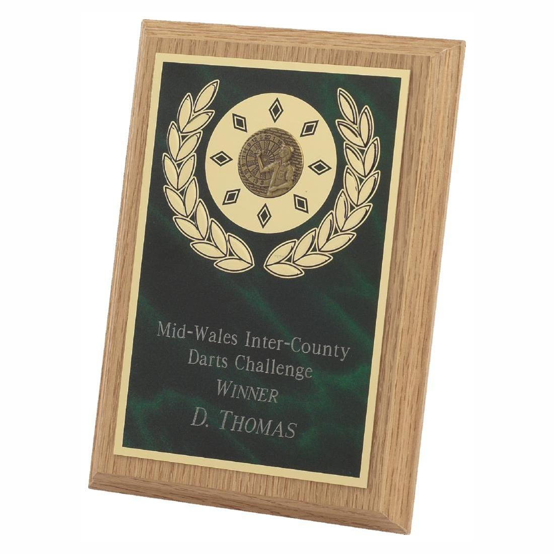 Lightwood Presentation Plaque 18cms made from a MDF based material with a light wood colour finish and a sturdy strut on the rear. Incorporating green marble effect brass base metal front.