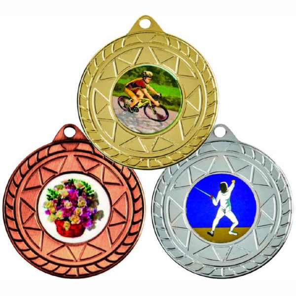 Sports and Pastime Medal made from a metal alloy with a dull finish. A clip ring to add an optional ribbon or to use for hanging purposes. Incorporating an area on the back to include any engraving