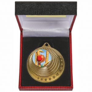 Medal in Luxury Case. Made from a 50mm diameter coloured metal alloy. With a red and black luxury case and insert for the medal to fit snug into