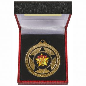 Two Tone Medal in Luxury Case. Made from a two toned 50mm diameter coloured metal alloy. With a red and black luxury case and insert for the medal to fit snug into